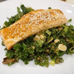 pan seared salmon and kale salad