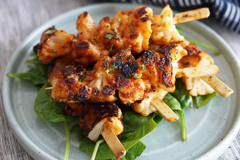 BBQ Grilled Cauliflower Skewers