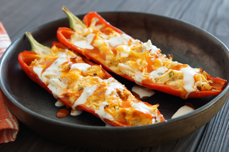 Low-Carb Buffalo Chicken Stuffed Peppers