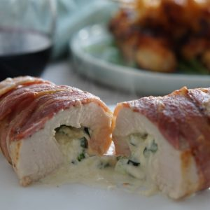 Bacon-Wrapped Jalapeno Popper Stuffed Chicken