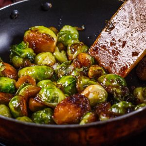 pan fried balsamic brussels sprouts