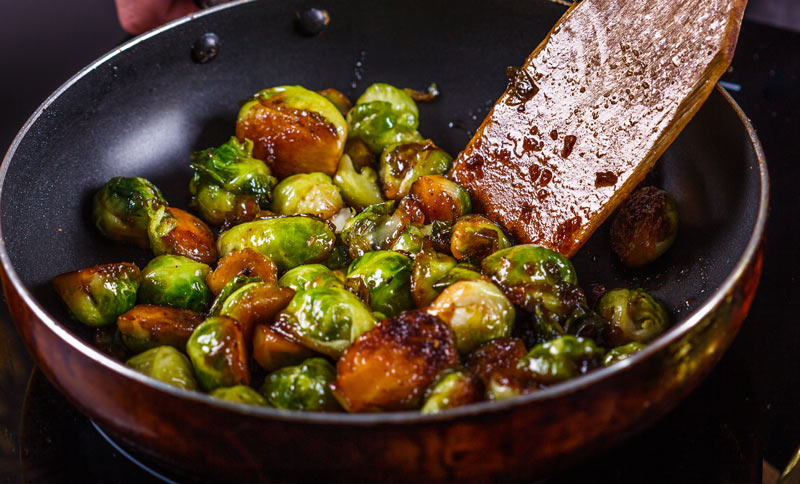 Pan Fried Brussels Sprouts with Balsamic Glaze