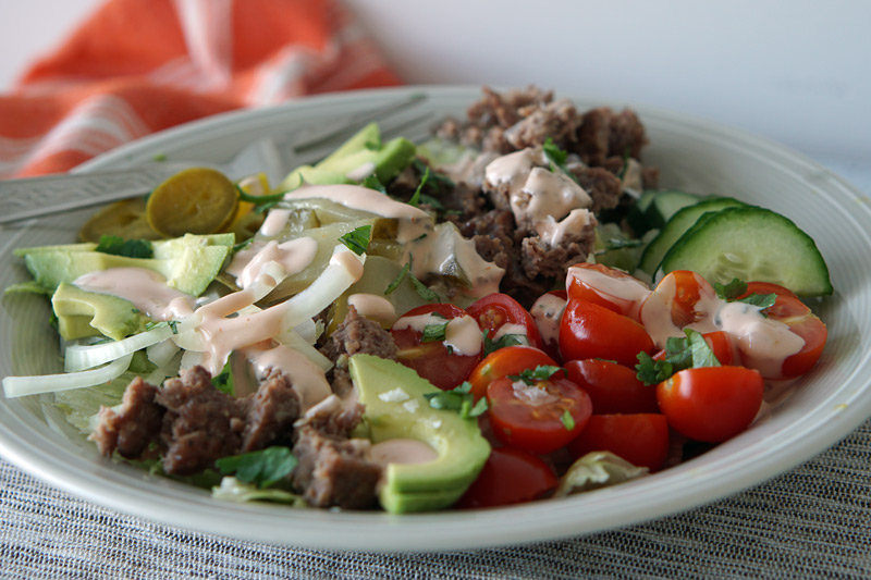 Low-Carb Burger in a Bowl
