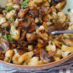 Garlic Mushrooms and Cauliflower