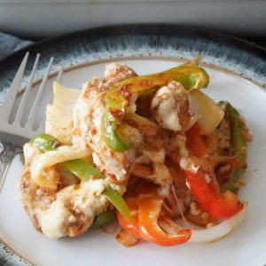 Chicken fajita casserole on a plate